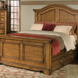 None - Rustic Escape Panel Bed with Optional Underbed Storage - With its honey brown finish and gracefully arched headboard, the Rustic Escape bed adds warmth and style to your master bedroom. Add additional storage and organization with the optional under bed storage units' two spacious drawers.