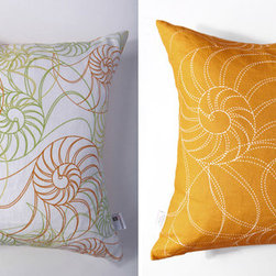 Kaypee Soh - Nautilus Pillow - Amber - Beautiful, geometric swirls and rich colors make up this beautiful beach theme design. Classic yet fun and whimsical. 100% LinenHidden red zipper closureFeather/down hypoallergenic insertHandmade in USA�