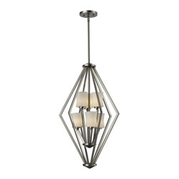 Z-Lite - Z-Lite Elite Pendant Light X-NB-6-906 - This six light Pendant Light uses exquisitely designed, angled brushed nickel arms to hold uniquely shaped, warm glowing matte opal shades within a chrome cage. An exceptionally contemporary fixture, this fixture includes adjustable rods to ensure the perfect hanging height.