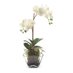 "Frontgate - Linen Pinks Floral Arrangement - Hand-arranged polyester silk blooms and leaves. Clear glass vase with decorative, authentic river rocks. Filled with acrylic ""water"". Imported. Enjoy a singular, exotic botanical beauty with the elegant Linen Orchids set. This white orchid is enhanced by placement in a scalloped glass container, standing ready to catch eyes atop a table or mantel. . . . ."