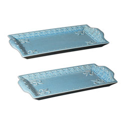 Uttermost - Nilah Trays, Set of 2 - These beautiful serving platters will make your food look good enough to eat. Use them for appetizers, snacks and party food. They can fill in as a drinks tray, too. When not in use, let them shine on your sideboard or display them on your coffee table.