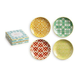 Rosanna - Portico Coupe Plates by Rosanna, Set of 4 - This collection combines bright colors and sleek geometric designs, sized perfectly for appetizers, dessert or casual dining with friends.