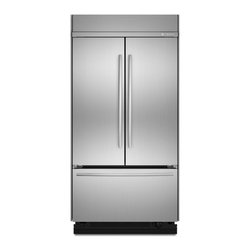"""Jenn-Air® 42"""" Built-In French Door  Refrigerator - The two built-in French door refrigerators offer wide interior space for storage, perfect for entertaining. They also feature the Precision Temperature Management™ System, which continually monitors the environment to maintain the ideal temperature."""
