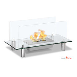 Moda Flame - Moda Flame Baza Free Standing Floor Indoor Outdoor Ethanol Fireplace - Baza modern ethanol fireplace is designed to reflect purity, simplicity and perfect for any indoor and outdoor setting. It is composed mostly of glass, allowing the natural element of the flame to boast proudly as its centerpiece. Tempered glass is used to support the burner and as a protective barrier from the flame, with four steel legs it allows the fireplace to to levitate as a floating fire.