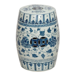 Kathy Kuo Home - Round Blue and White Floral Vines Ceramic Garden Stool Seat - Traditionally used in China as tea tables-these garden stools make a perfect addition to your living space as side tables, or clustered together to be used as a coffee table. Glazes are triple fired for added luster and shine. With a hand made product, glaze variations of up to 10% is to be expected.