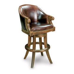 California House - ivey swivel bar chair (leather) - Manufactured in the USA, we are proud to offer our customers this premium game room furniture from a third generation, family-owned company.