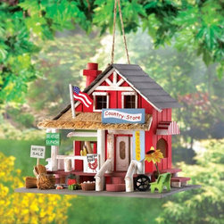 Charming Country Store Wooden Birdhouse - This is so sweet — a country store birdhouse for your tired travelers! Here your feathered friends can find shelter and food while enjoying the precisely detailed hay bales, American flag, fruits and vegetables.