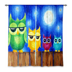 "DiaNoche Designs - Window Curtains Unlined - nJoyArt Owls on a Fence Blue - DiaNoche Designs works with artists from around the world to print their stunning works to many unique home decor items.  Purchasing window curtains just got easier and better! Create a designer look to any of your living spaces with our decorative and unique ""Unlined Window Curtains."" Perfect for the living room, dining room or bedroom, these artistic curtains are an easy and inexpensive way to add color and style when decorating your home.  The art is printed to a polyester fabric that softly filters outside light and creates a privacy barrier.  Watch the art brighten in the sunlight!  Each package includes two easy-to-hang, 3 inch diameter pole-pocket curtain panels.  The width listed is the total measurement of the two panels.  Curtain rod sold separately. Easy care, machine wash cold, tumble dry low, iron low if needed.  Printed in the USA."
