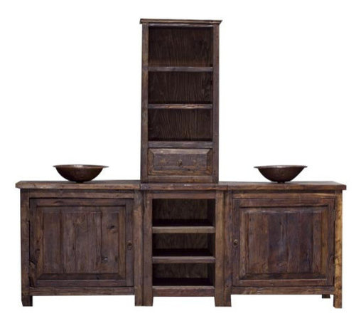 Rustic Double Sink Vanity - A large, double sink vanity with matching tower. This vanity is made from 100% reclaimed wood that comes from old barns and corrals in Mexico. The wood is sanded down to a smooth finish and then stained using our own unique stain. We then wax the furniture with a paste wax that enhances the color of the wood. The inside of the cabinets have two small drawers and one shelf.