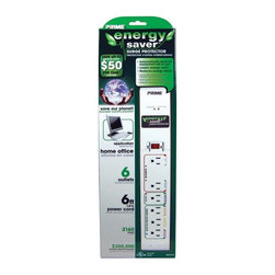 Prime Wire - Prime Wire 6-Outlet 2160J Energy Saver with 6-ft Cord - 6-Outlet 2160J Energy Saver with 6ft. Cord