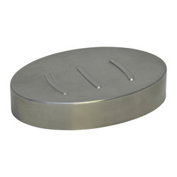 Stainless Steel Oval Soap Dish Chrome - This elegant soap dish for bathrooms is in stainless steel and adds a contemporary look and feel to your decor. This hammered shiny finish soap dish is a lovely accent for any bathroom and has a drip tray to avoid the soap to melt too quickly. It features a length of 4.92-Inch, a width of 3.42-Inch and a height of 0.91-Inch. Wipe clean with soapy water. Color chrome. Accessorize your bathroom countertop in a trendy style with this charming soap dish! Complete your decoration with other products of the same collection. Imported.