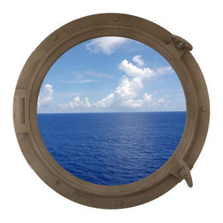 """Handcrafted Model Ships - Sandy Shore Porthole Window 24"""" - Beach Bedroom Decoration - This Sandy Shore Porthole Window 24"""" adds sophistication, style, and charm for those looking to enhance rooms with a nautical theme. This boat porthole has a sturdy, heavy and authentic appearance, yet it is made of wood and fiberglass to lower the weight for use as nautical wall decor. This porthole window makes a fabulous style statement in any room with its classic round frame, five solid rivets and two dog ears surround the perimeter of the porthole frame."""