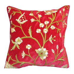 Crewel Fabric World - Crewel Pillow Tree of Life Red Cotton Velvet 20x20 Inches - Artisans in a remote mountain village in Kashmir crewel stitch these blossoms, vines and leaves by hand, resulting in a lush pattern of richly shaded wool yarns on Linen, Cotton, Velvet, Silk Organza, Jute. Also backed in natural linen, Cotton, Velvet Silk Organza, Jute with a hidden zipper.