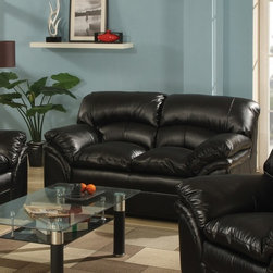 AC Pacific - Joyce Loveseat - This pub back sofa has comfort, durability and a great price. With reinforced frame and spring seating. Covered in a durable 100% black bonded leather. . Material: Leather. Color/Finish: Black. 62 in. L x 37 in. W x 38 in. H