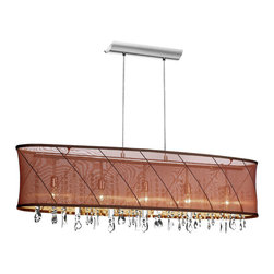 Dainolite - 5 Light Horizontal Crystal Chandelier, Chocolate / Gold Organza Saffron Shade - -Main Body Material: Organza