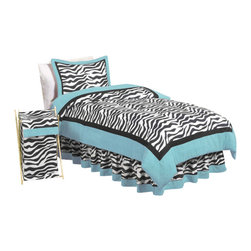 Sweet Jojo Designs - Blue Zebra Children's Bedding Set Twin (4 Pc.) - The Blue Zebra Children's Bedding Set by Sweet Jojo Designs will help you create an incredible room for your child. This children's bedding set features a super contemporary zebra print fabric paired with vivid solids to create a graphic, modern look. This collection uses the stylish colors of turquoise, black and white. The design uses 100% cotton fabrics that are machine washable for easy care. This wonderful set is available in a twin and full/queen size.