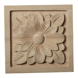 """Ekena Millwork - 5 1/8""""W x 5 1/8""""H x 1""""D Large Dogwood Flower Rosette, Maple - Our rosettes are the perfect accent pieces to cabinetry, furniture, fireplace mantels, ceilings, and more.  Each pattern is carefully crafted after traditional and historical designs.  Each piece is carefully carved and then sanded ready for your paint or stain.  They can install simply with traditional wood glues and finishing nails."""