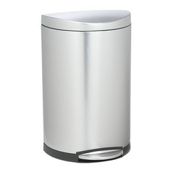 simplehuman® 10.5-Gallon Deluxe Semi-Round Trash Can - Sleek, space-saving stainless steel trash can is designed to fit any kitchen or utility space. Power-assist pedal operates whisper-close lids smoothly and quietly. Inner bucket lifts out for easy bag removal. Bag tuck tidies up oversized bags.