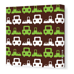 """Avalisa - Things That Go - Roadtrip Stretched Wall Art, 28"""" x 28"""", Brown Green -"""