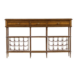 Stanley Furniture - Arrondissement Petit Vin Sideboard - Sunlight Anigre Finish - Oenophiles are justifiably proud of their collections and want to share them with their friends and family. The Petit Vin Sideboard's 24 leather wine slings provide the ideal display space for these beloved vintages, while shelves offer storage room for a range of serveware. In addition, the multitude of aging techniques used on the sideboard impart an antique aesthetic in keeping with Arrondissement's Parisian inspiration. Three drawers, leather slings for storage of 24 wine bottles, two fixed shelves. Made to order in America.