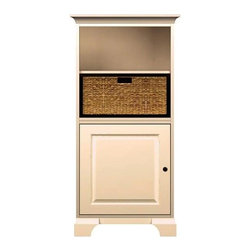 Howard Miller Custom - Ella Cabinet w 1 Panel Door in Antique Vanilla - This cabinet is finished in Antique Vanilla on select hardwood and Veneers, with Antique Bronze hardware. 1 beveled panel door. 2 adjustable interior shelves and 1 large woven basket. Cove profile top and cove profile base. Hardware: knob on door. Features soft-close doors and meal shelf clips. 27 1/4 in. D x 17 in. W x 54 3/4 in. H