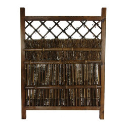 Oriental Furniture - Japanese Dark Stain Wood & Bamboo Garden Gate - This is a beautiful, dark stained, hand crafted wood and bamboo gate, with a distinctive, rustic Japanese garden aesthetic. Built to last, crafted from kiln dried black antiqued bamboo pole and rustically finished wooden frame, this is a remarkably simple, beautiful piece of Zen craftsmanship. More and more people across America are turning part of their yards into green houses, gazebos, even adding Japanese style tea houses and Zen style Japanese gardens.