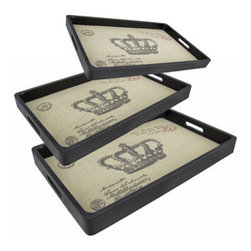 Set of 3 Paris Postcard with Crown Decorative Nesting Trays - This set of 3 trays adds a decorative accent to any table or desk. They are made of wood, have a black leatherette covering, and have a burlap liner featuring an image of a Parisian postcard, complete with postmarks. The largest tray measures 17 3/4 inches long, 12 inches wide, 1 1/2 inches high, the middle one is 16 3/4 inches long, 11 inches wide, 1 1/2 inches high, and the smallest tray measures 15 3/4 inches long, 10 inches wide, 1 1/2 inches high. Use them to display groups of small items, to sort mail, or to serve snacks.
