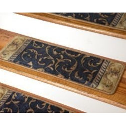 """Dean Flooring Company - Dean Premium Carpet Stair Treads - Navy Scrollwork Blue Size 26"""" x 9"""" - Dean Premium Carpet Stair Treads - Navy Scrollwork Blue Size 26"""" x 9"""" : Beautiful Plush Carpet Stair Treads * Luxurious and Resilient Texture * High Fashion Design with Beautiful Scroll Work * Densely Woven Construction * 100% Opulon (Polypropylene and Acrylic) * Uncommon Softness and Durability * Premium Quality Broadloom is Woven Face-to-Face on State-of-the-Art Wilton Looms * Stylish Enough to Compliment the Finest Decors * Color: Ivory/Beige * Approximately 26.25 inches by 9 inches * Set Includes 13 Pieces * Each tread is serged with color matching yarn * Prevents slips on your hardwood stairs (must be secured to your stairs) * Provide warmth and comfort * Extends the life of your hardwood stairs * Easy do-it-yourself installation with double sided carpet tape (Not included - sold separately)"""