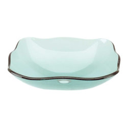 Renovators Supply - Vessel Sinks Green Glass Tourmaline Petal Rectangular Vessel Sink - Glass Vessel Sinks: Single Layer Tempered glass sinks are five times stronger than glass, 1/2 inch thick, withstand up to 350 F degrees,  can resist moderate to high degrees of impact & are stain��_��__��_��__��_��__proof. Ready to install this package includes FREE 100% solid brass chrome-plated pop-up drain, FREE machined 100% solid brass chrome-plated mounting ring & silicone gasket. Measures 20 1/4 in. L x 15 in. W x 5 1/2 in. deep. x 1/2 in. thick.