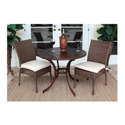 Hospitality Rattan - Grenada 3 Pc. Slatted Table Bistro Set w Side - Set includes 36 in. Round Slatted Table and 2 Side Chairs. Cushions not included. Antique Brown finish. Slatted Aluminum outdoor tables do NOT require Glass. Weather and UV resistant. Table assembly required. Sturdy Aluminum legs for extra support. Table: 36 in. W x 36 in. D x 29 in. H (20 lbs.). Side Chair: 24 in. W x 24 in. D x 37 in. H (9 lbs.)The Grenada Collection has a contemporary, yet tropical feel that offers a clean look for any patio area and the convenience of all-weather wicker. Supported by an Aluminum frame wrapped in high quality Viro Fiber. This all-weather wicker 3 Bistro PC set is incredibly comfortable with or without cushions. The simplicity of the Grenada collection and the versatility really make it an excellent choice for anyone. It includes two armchairs, and a 36 in. bistro round dining table with an Aluminum slatted table with umbrella hole. The unique feature of this set is the fact that the table does not require Glass.