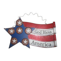 Alpine Fountains - American Flag Metal Wall Decor - Made of Metal. 1 Year Limited Warranty. Assembly Required. Overall Dimensions: 20 in. L x 2 in. W x 12 in. H (1.01 lbs)Show off your patriotic spirit in a unique way! Display these stars and stripes for all-American holidays or use them year round for a great look. Perfect for Indoor/Outdoor use, these decors are fun-loving interpretations of Old Glory.