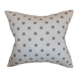 """The Pillow Collection - Nancy Polka Dots Pillow White Storm Twill 18"""" x 18"""" - This gorgeously crafted throw pillow is a lovely statement piece for your interiors. This accent pillow comes with a classic polka dot pattern in shades of grey and white. This square pillow is crafted from 100% soft cotton fabric. Provide comfort to your bed, sofa or loveseat by simply tossing this decor pillow. Hidden zipper closure for easy cover removal.  Knife edge finish on all four sides.  Reversible pillow with the same fabric on the back side.  Spot cleaning suggested."""