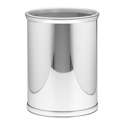 Kraftware - Mylar Wastebasket in Polished Chrome - 0.75 in. band in polished chrome with grey bumper. Made in USA. 10 in. Dia. x 12 in. H (1.5 lbs.)Kraftware's Mylars bring the look of metal at vinyl prices. Great value, great looks and great entertaining sum up the Mylar collection.