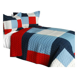 Blancho Bedding - Banneret 3PC Vermicelli-Quilted Patchwork Quilt Set-Queen - The [Banneret] 3PC Vermicelli-Quilted Patchwork Quilt Set (Full/Queen Size) includes a quilt and two quilted shams. This pretty quilt set is handmade and some quilting may be slightly curved. The pretty handmade quilt set make a stunning and warm gift for you and a loved one! For convenience, all bedding components are machine washable on cold in the gentle cycle and can be dried on low heat and will last for years. Intricate vermicelli quilting provides a rich surface texture. This vermicelli-quilted quilt set will refresh your bedroom decor instantly, create a cozy and inviting atmosphere and is sure to transform the look of your bedroom or guest room. (Dimensions: Full/Queen quilt: 90.5 inches x 90.5 inches; Standard sham: 24 inches x 33.8 inches)