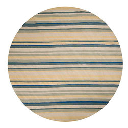 Surya - Hand-hooked Cunningham Polypropylene Rug (8' Round) - This hand hooked rug is outdoor safe and features looped texture and a medium pile. Colors of pale yellow, off white, sage, blue, and blue-green accent this area rug.
