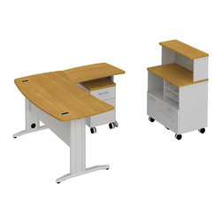 "Bush - Bush Sector 60"" L-Shape Curved Desk with Storage in Modern Cherry - Bush - office Sets - SEC007MC - Room to spare plus everything you need to get started. Bush SECTOR Series Suite 7AC in Modern Cherry with 60""W x 60""D Curved L Desk with filing drawer and 30""W x 20""D Curved Return Work Surface brings everyone together. Stylish yet affordable workstation L-desks and returns are easily reconfigurable. Metal-to-metal connections allow repeated attaching and detaching without joint fatigue. Includes two covered ports for cord and cable management. Four-gang USB hub allows quick connections for recharging phones or connecting peripherals. Straight-leg kit has raceway under desk front and back grommets and removable side leg panel to allow hiding of unsightly cords and cables. Bush Mobile Pedestal (B/F) fits any open collaborative space. One box drawer for supplies and one full extension file drawer hold letter- legal-and A4-size files. Sized to nest conveniently under desk surfaces. Mobile Piler/Filer combines a cubby a flat shelf/inbox and a file drawer for extra versatility. Adaptable 30""W Vertical Storage Shelf adds space and works with Bush 30""W Mobile Piler/Filer. Rugged Diamond Coat top surface blends with other Sector pieces, resists marking, staining and abrasions. Includes Bush 10-year warranty."