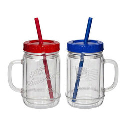 "Creative Ware - Acrylic American Flag Insulated Mason Jar Sippers - Enjoy a sweet treat while showing off your patriotism using our all American iconic mason jar sippers. Boasting sturdy, shatter-proof construction, our unique mugs are perfect for the patio and deck, as well as your morning cup of coffee. Blue mug is enhanced with the classic American flag while the red mason jar is inscribed with the words ""All American"". A smoothie-sized straw is included, so you can feel extra special, and the twist-on lid and wide side handle make drinking and portability easy!    * Set of 2, 1 red and 1 blue  * Material: insulated acrylic  * Made is the USA  * BPA free"