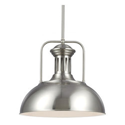 Sea Gull Lighting - Beacon Street Brushed Nickel One Light Pendant - - Canopy: D: 5.5-Inch H: 1-Inch Round  - Wire/Cord Length: 120  - Wire/Cord Color: Clear  - Chain Length: 3  - LED Convertible: Easily converts to LED with optional LED bulbs that are sold separately Sea Gull Lighting - 6515401-962