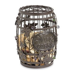 Wine Barrel Cork Cage - A fun and innovative way to keep and cherish all of your wonderful wine memories and a great way gift to give a bottle of wine to your friends and family. They'll never forget this clever present. Just drop your treasured corks in the top. This wine barrel artfully sculpted from metal with entwined colored glass spheres is sure to please anyone receiving it. *Most standard wine bottles fit in this barrel. Exceptions are tall bottles like Gewürztraminer and Riesling.