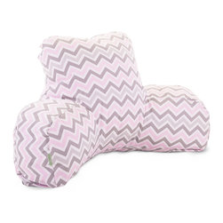 Majestic Home - Indoor Pink Zoom Zoom Reading Pillow - Support, style and easy care — just what you want in your favorite casual setting. This beanbag update props you up properly for total relaxation, while the zigzag pattern adds panache. Perhaps best of all, the durable cotton twill slipcover zips off so you can toss it in the wash.
