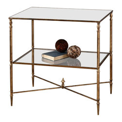 Uttermost - Henzler Lamp Table Mirror in Gold Finish - Made of glass and metal. 25.75 in. W x 18 in. D x 26 in. H. Assembly InstructionsGold leaf finish with heavy antiquing on iron frame with iron cross stretchers. Top is reinforced mirror and gallery shelf is clear tempered glass.