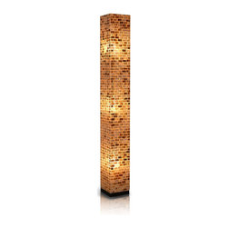 Jeffan International - Valentti Large Square Floor Lamp w Capiz Shell Mosaic Shade - Capiz shells in a mosaic bricklay pattern add an element of dramatic style to this square floor lamp, an artistic, innovative addition to any decor. A perfect way to bring modern and classic design styles together, the lamp is finished in a warm amber and is made of fiberglass with a wood base. Bulb not included. Requires three 40/60 watt bulb. Unique lighting for great ambiance. Recognized by HGTV for its innovative design. Made of fiberglass covered with small rectangular shaped capiz shells. Black wooden base. 7 ft. electrical cord with on/off switch. Made from fiberglass and shell. Made in Indonesia. No assembly required. 8 in. L x 8 in. W x 65 in. H (20 lbs.)