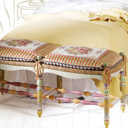 """MacKenzie-Childs - Light """"Flower Basket"""" Bench & Settee Cushion - This bench beautifully showcases the whimsical style of MacKenzie-Childs®.  Designed with a rush seat and a hand-painted design of tulips and faux-marbling, it is sure to be a focal point wherever you choose to use it.  Placed at the foot of a bed, the wool needlepoint cushion will provide a comfortable place to sit while dressing for the day."""