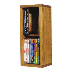 CD Racks - Solid Oak 2 Row Dowel DVD Cabinet Tower - Handcrafted by the Wood Shed from durable solid oak hardwood