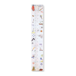 Stupell Industries - Boy's Sports Growth Chart - 7 in. W x 39 in. H. Original Stupell art. Made in USA. Comes with colorful grosgrain ribbon. 0.5 in. ThickDecorative growth charts for the kid's room by Stupell Industries feature original artwork from in-house artists lithographed onto sturdy mdf fiberboard.  Each piece is hand finished and comes with colorful grosgrain ribbon. Our growth charts are 7'' x 39'' and is the perfect decorative piece to measure the little one's growth.
