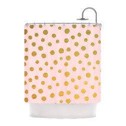 """Kess InHouse - Nika Martinez """"Golden Dots & Pink"""" Blush Shower Curtain - Finally waterproof artwork for the bathroom, otherwise known as our limited edition Kess InHouse shower curtain. This shower curtain is so artistic and inventive, you'd better get used to dropping the soap. We're so lucky to have so many wonderful artists that you'll probably want to order more than one and switch them every season. You're sure to impress your guests with your bathroom gallery in addition to your loveable shower singing."""
