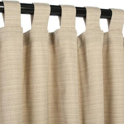 Sunbrella Outdoor Curtain with Tab Tops - Dupione Sand - Sunbrella is a heavy-duty yet lightweight acrylic blend, resistant to staining, rot, mold and mildew, yet has a softness on par with cotton. The Grommet Top hanging style is among the most efficient, and popular, for outdoor settings, and also among the easiest to use as well.  Grommets are nickel plated.  Panels are sold as individuals with a tie back.