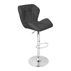 Lumisource - Jubilee Barstool Black - Buckle up, you're in for a very comfortable ride! No one will leave your home when you introduce this plush, quilted, padded seat sitting atop a chrome, fully hydraulic stand with a footrest. Does it get any better than this?