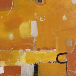 """""""Southern Exposure"""" Artwork - Bright tangerine colors, textures, hints of blue and turquoise--the warmth radiates from the canvas. This gallery wrapped canvas with 1.5  unpainted sides is wired in back and ready to hang. Framing is optional."""