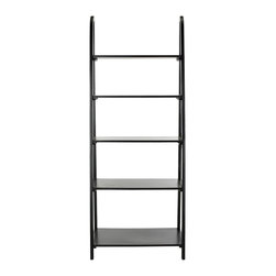 Safavieh - Albert Etagere - Black - Inspired by the classic library ladder, the Albert Etagere has a contemporary A-line profile with five shelves that increase to a slim 15.9 inches at the base. Display favorite photos, keepsakes, books and more on this clean transitional piece crafted of pine in distressed black finish.